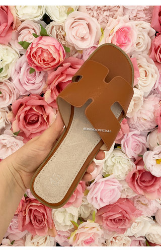 CAMEL - 'H-SLIDERS' - INSPIRED REAL LEATHER SLIPPERS