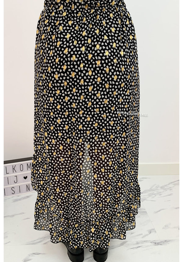 BLACK - 'PASCALLE SKIRT' - PREMIUM QUALITY GOLD DOTTED LEOPARD RUFFLE SKIRT