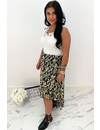 BLACK - 'FLORIDA' - PREMIUM QUALITY GOLD DOTTED PALM LEAVES RUFFLE SKIRT