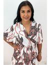 WHITE - 'JAMIE-LEE' - INSPIRED PRINT RUFFLE DRESS