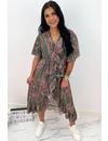 GREEN - 'JAMIE-LEE' - INSPIRED PRINT RUFFLE DRESS