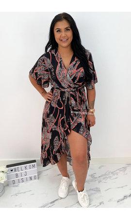 BLACK - 'JAMIE-LEE' - INSPIRED PRINT RUFFLE DRESS