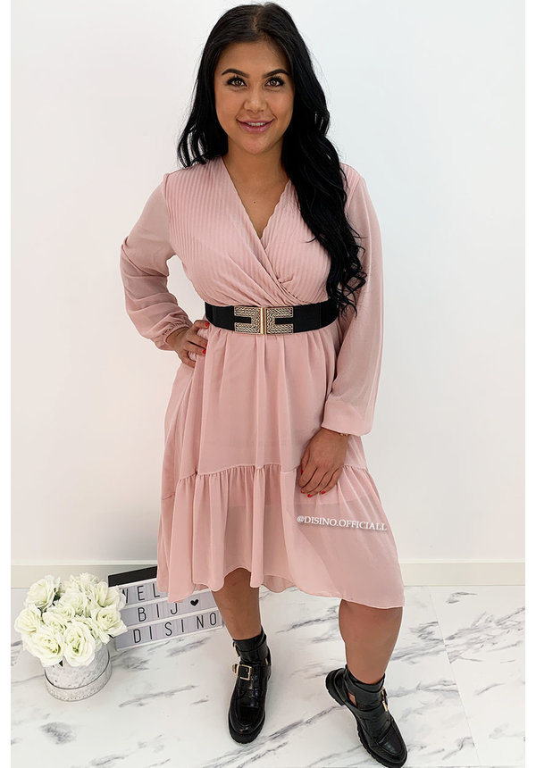 SOFT PINK - 'CLAIRE' - LONG SLEEVE RUFFLE DRESS