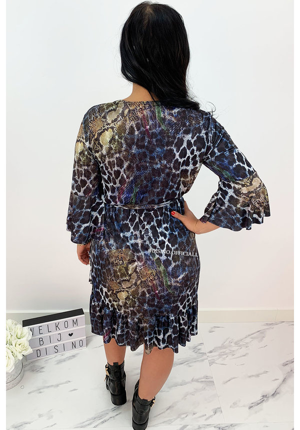 NAVY BLUE - 'CHELSEA' - COLOURFULL LEOPARD WRAP ON RUFFLE DRESS