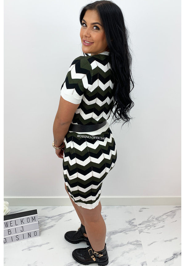 OLIVE GREEN - 'ESTELLE' - INSPIRED ZIGZAG TWO PIECE SET