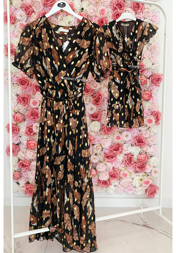 BLACK - 'KIDS PEARSON SPECTER' - GOLD DOTTED PALM LEAVES MAXI RUFFLE DRESS