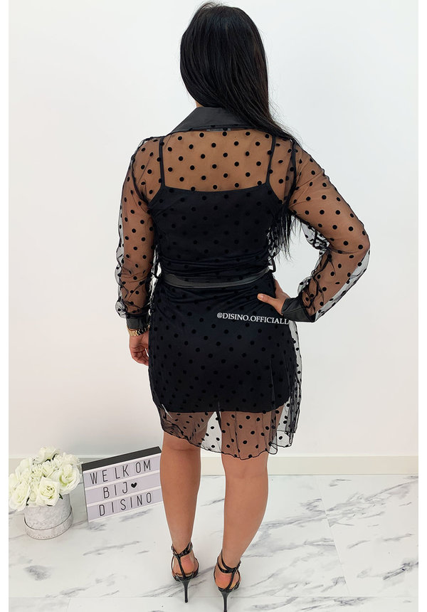 BLACK - 'CAMILIA' - DOTTED MESH BLOUSE DRESS WITH UNDERDRESS