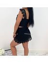 BLACK - 'CHARELL' - LINNEN LACE TWO PIECE