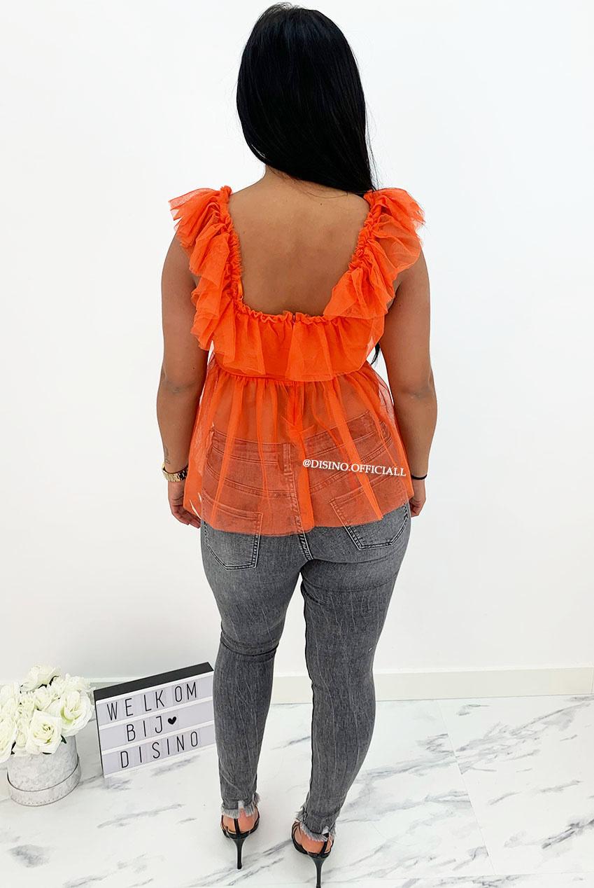 ORANGE - JULIET - V-NECK MESH TOP - DISINO - Fashion