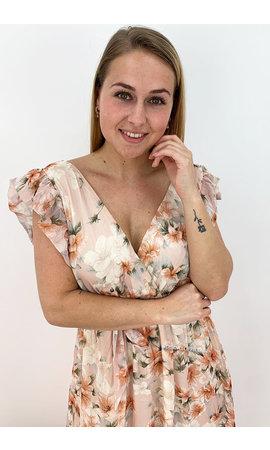 PEACH - 'LIVA' - FLORAL MAXI DRESS