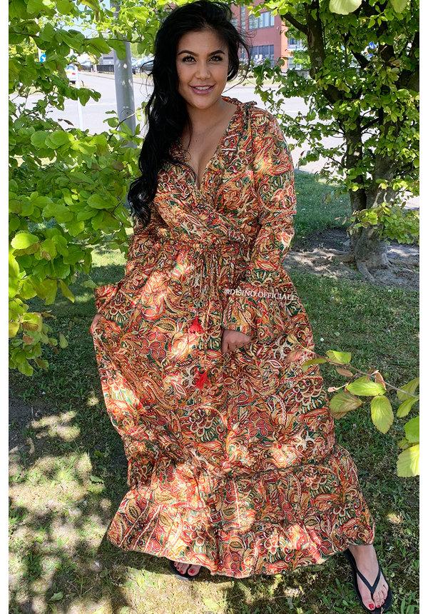 ORANGE - 'FLORINDA' - LUXE BOHO CHIQUE LONG SLEEVE MAXI DRESS