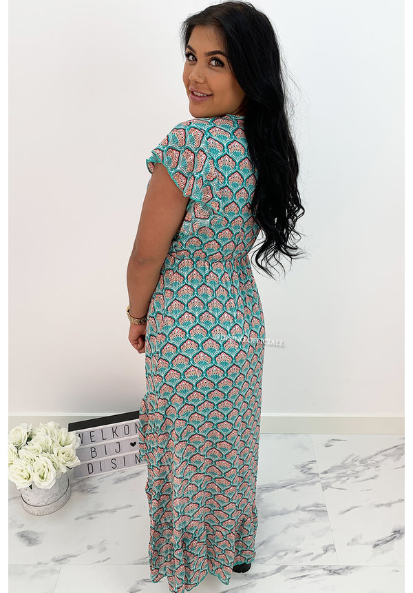TURQUOISE - 'PRESLEY' - PREMIUM QUALITY FLORAL RUFFLE MAXI DRESS