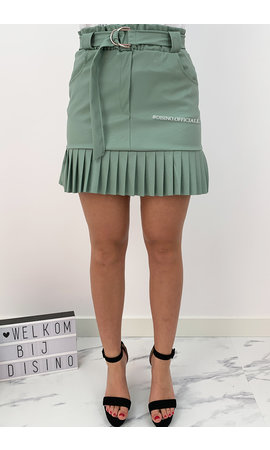 MINT GREEN - 'ROBINN' - VEGAN LEATHER RUFFLE SKIRT