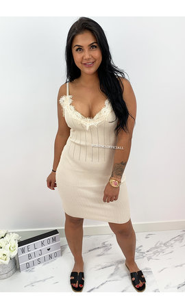 BEIGE - 'MANDY' - RIBBED BODYCON DRESS WITH SEXY LACE