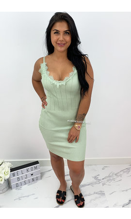 MINT GREEN - 'MANDY' - RIBBED BODYCON DRESS WITH SEXY LACE