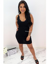 BLACK - 'MANDY' - RIBBED BODYCON DRESS WITH SEXY LACE