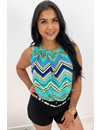GREEN - 'ABBY' - ZIGZAG COMFY KNOT TOP