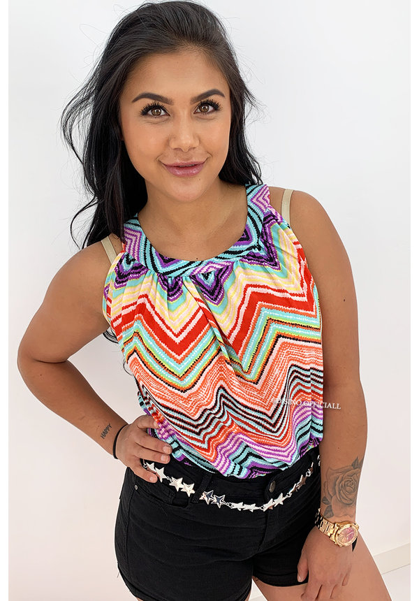 RED - 'ABBY' - ZIGZAG COMFY KNOT TOP