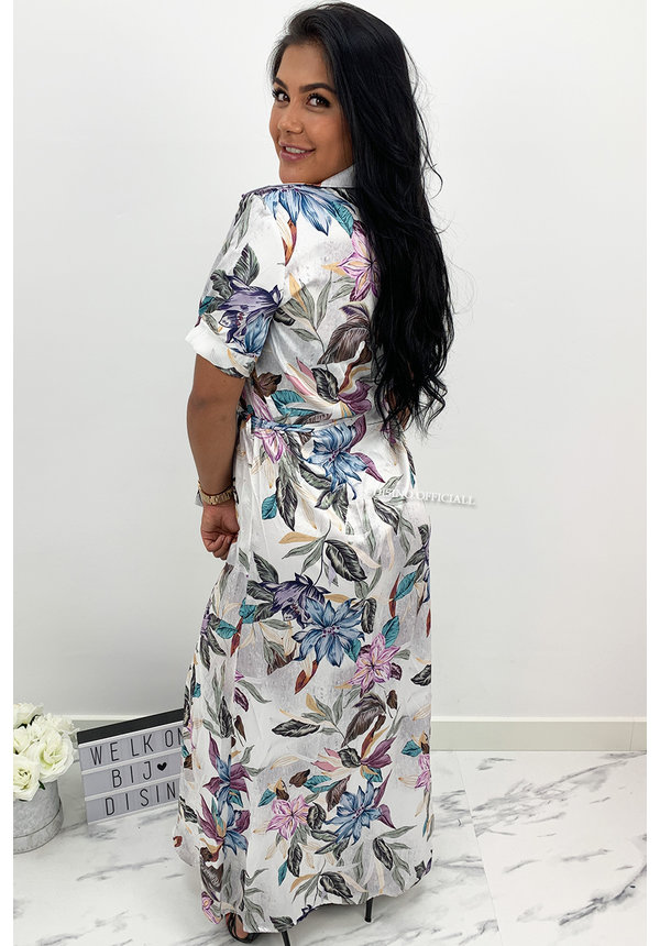 WHITE - 'MAISY' - SATIN FLORAL MAXI DRESS