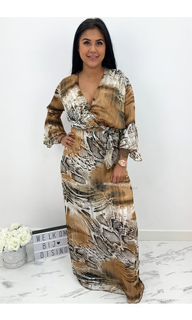 BROWN - 'FELICIA' - SNAKE PRINT MAXI DRESS