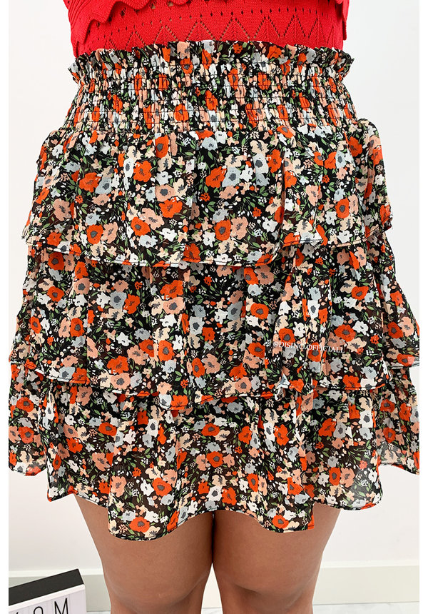 BLACK - 'ILSE' - FLORAL LAYERED SKIRT