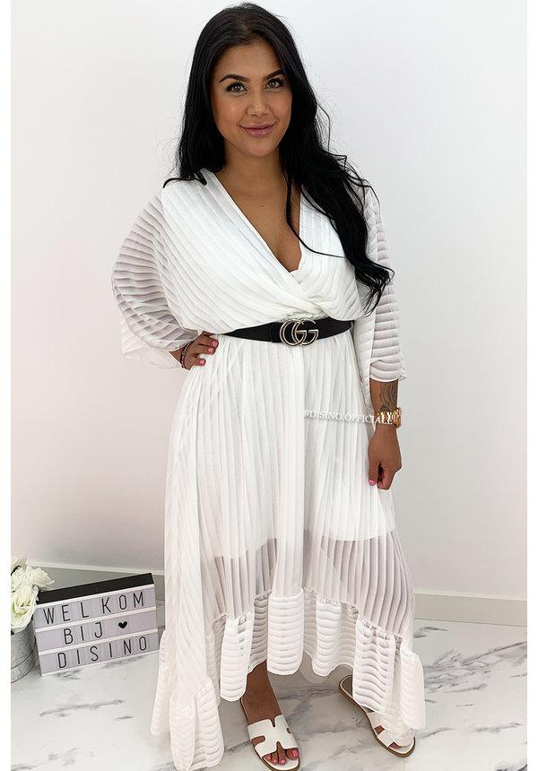 WHITE - 'CIAO BELLA' - SPANISH MAXI RUFFLE DRESS
