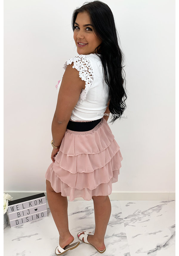 PINK - 'BONNIE' - LAYERED RUFFLE SKIRT