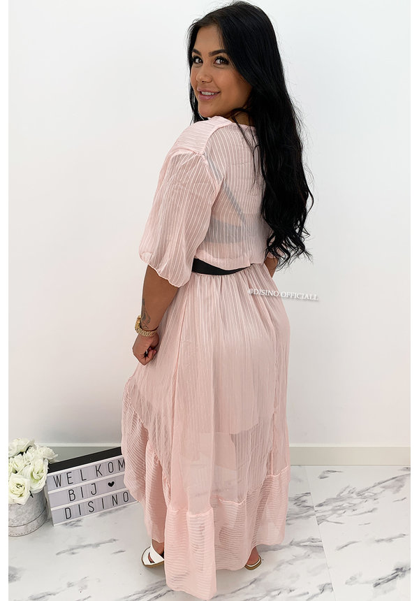 SOFT PINK - 'SHAYLA' - SPANISH MAXI RUFFLE DRESS