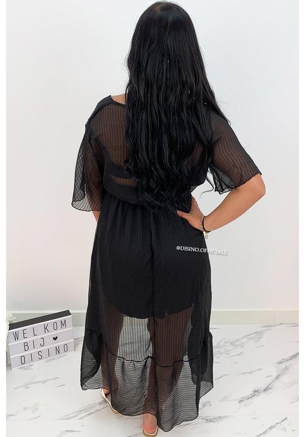 BLACK - 'SHAYLA' - SPANISH MAXI RUFFLE DRESS