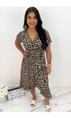 BEIGE - 'LIYANA' - LEOPARD PRINT MAXI RUFFLE DRESS