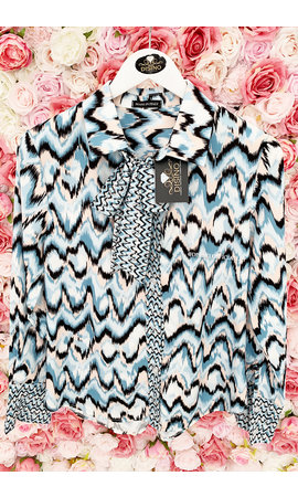 LIGHT BLUE - 'ZIGGY' - PREMIUM QUALITY ZIGZAG BLOUSE