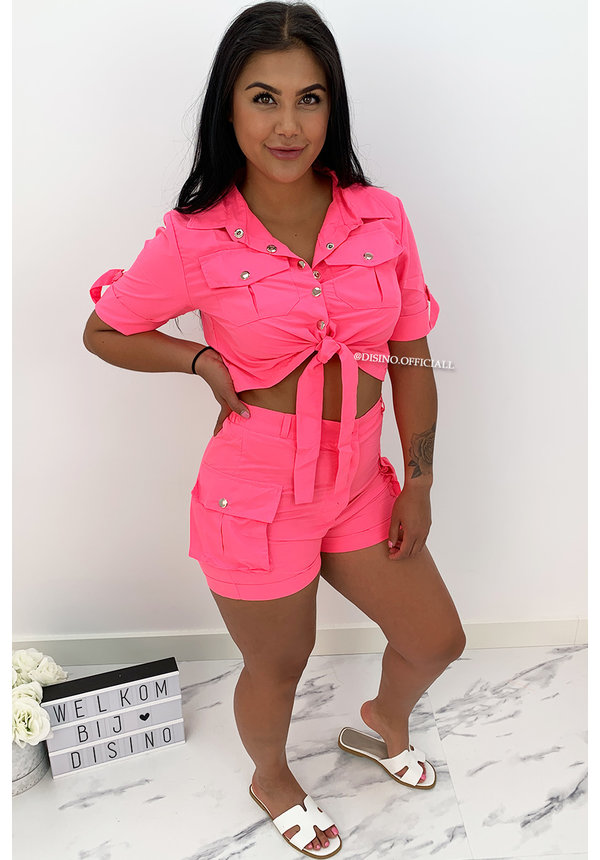 NEON PINK - 'SAVAGE' - CARGO TWO PIECE SET