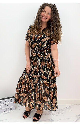 BLACK - 'SPECTER MAXI' - GOLD DOTTED PALM LEAVES MAXI RUFFLE DRESS
