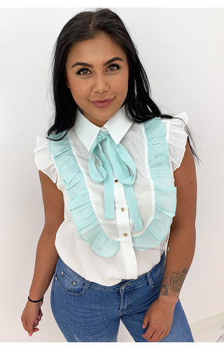 TURQUOISE - 'LOIS' - RUFFLE KNOT BLOUSE