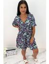 PURPLE - 'LILIA' - FLORAL SHORT SLEEVE RUFFLE DRESS