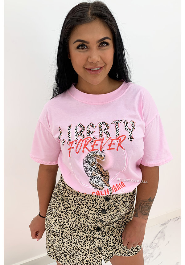 SOFT PINK - 'LIBERTY FEVER' - LEOPARD OVERSIZED TEE