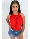 RED - 'ABBY BASIC' - COMFY KNOT TOP
