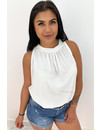 WHITE - 'ABBY BASIC' - COMFY KNOT TOP