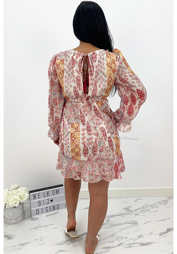 RED - 'STEFFANIE V2' - LUXE FLORAL BOHO CHIQUE DRESS