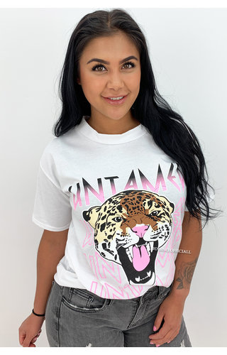 WHITE - 'UNTAMED TIGER' - OVERSIZED TEE