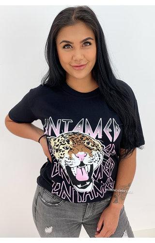 BLACK - 'UNTAMED TIGER' - OVERSIZED TEE