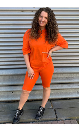 ORANGE - 'KYLIE' - PREMIUM QUALITY COMFY OVERSIZED BIKER SET