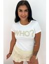WHITE - 'WHO?' - STUDS TEE