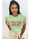 GREEN - 'VOGUE SPARKLE SHOULDERS' - BOXED APPLICATION TEE