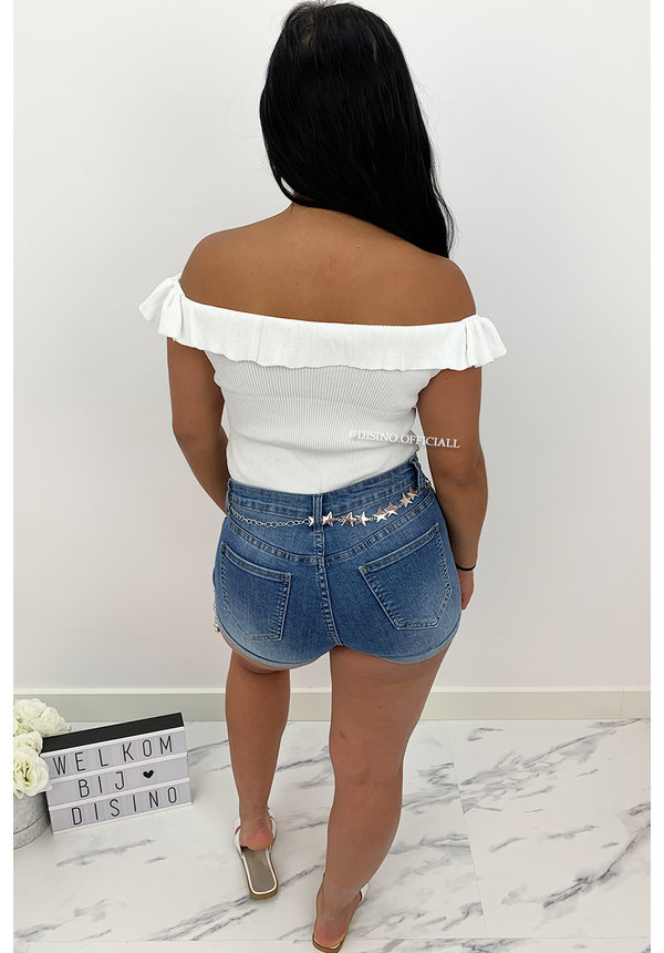 WHITE - 'SHELLY' - RUFFLE OFF SHOULDER TOP