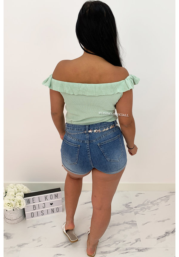 MINT GREEN - 'SHELLY' - RUFFLE OFF SHOULDER TOP