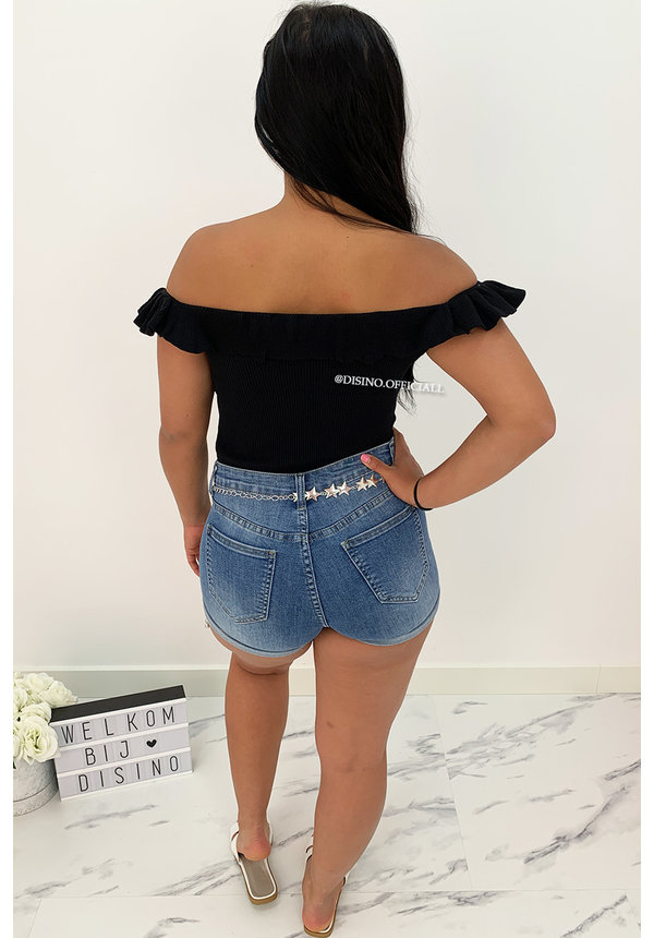 BLACK - 'SHELLY' - RUFFLE OFF SHOULDER TOP