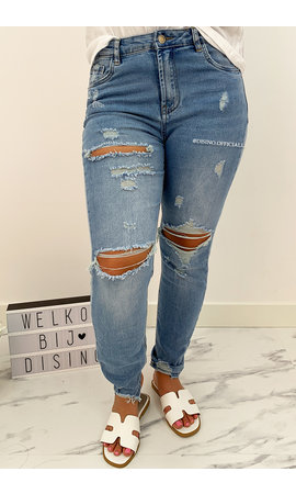 QUEEN HEART JEANS - LIGHT BLUE - SLIM FIT RIPPED BOYFRIEND JEANS - 760
