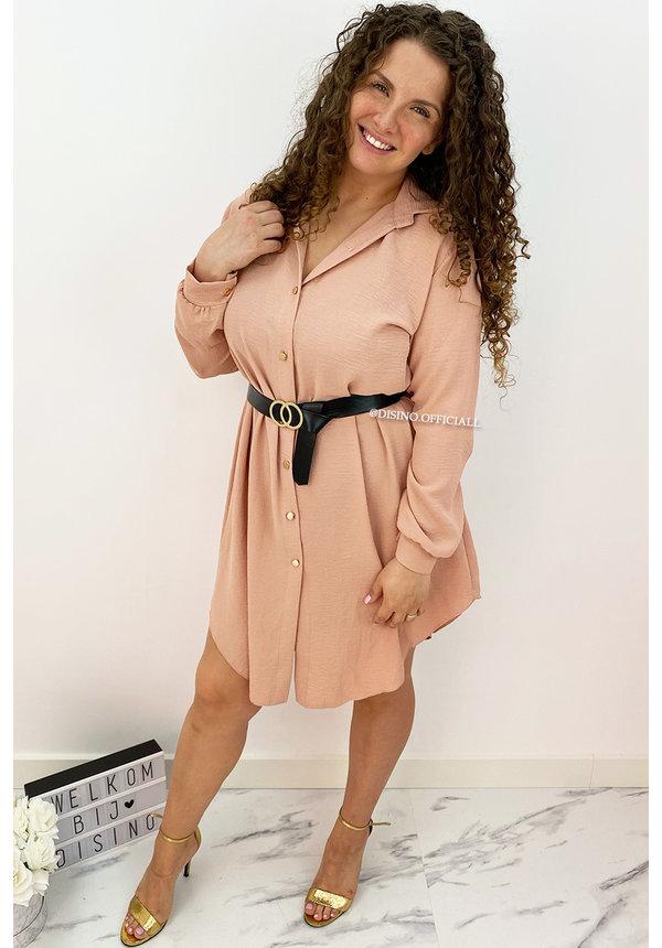SOFT PINK - 'LARISSA' - MAXI BLOUSE DRESS WITH BELT
