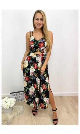 BLACK - 'FIORELLA' - FLORAL MAXI DRESS